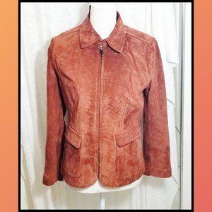 Vintage Rust Color Suede  Zipper Pockets Jacket